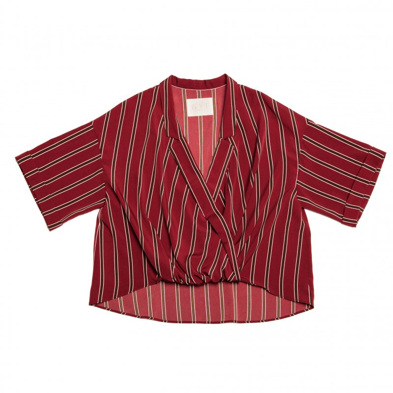 GYF TOKYO - THE STRIPE RELAX SHIRT (WINE RED)<img class='new_mark_img2' src='https://img.shop-pro.jp/img/new/icons21.gif' style='border:none;display:inline;margin:0px;padding:0px;width:auto;' />