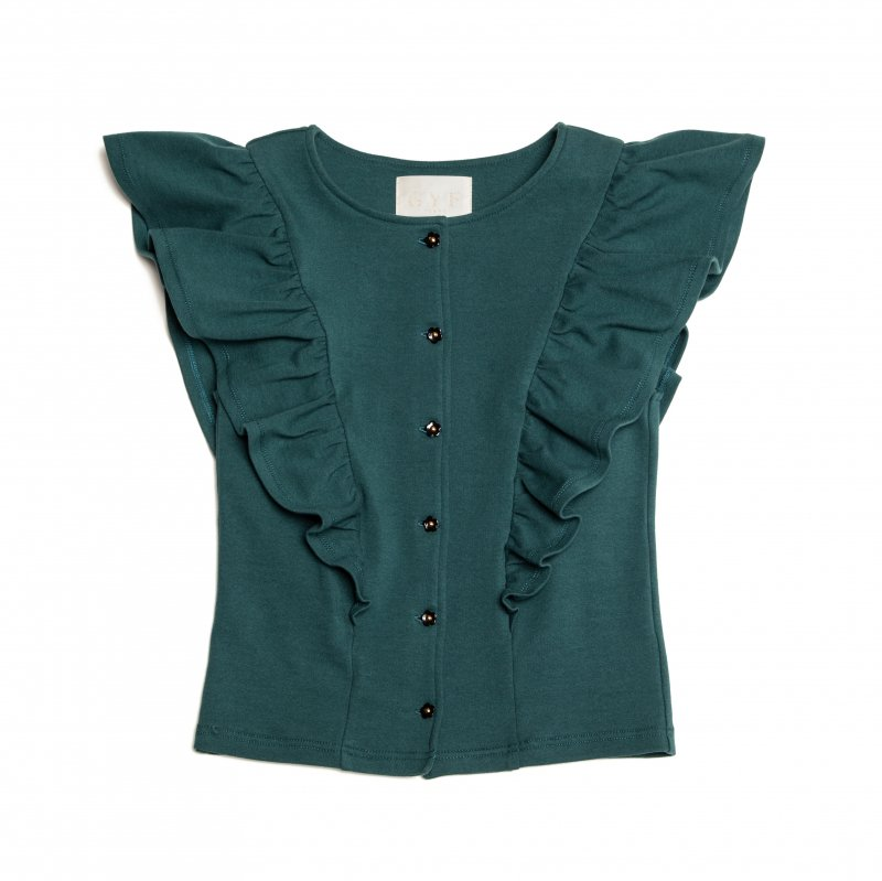 GYF TOKYO - THE FLOWER BUTTON FRILL TOPS (GREEN)<img class='new_mark_img2' src='https://img.shop-pro.jp/img/new/icons21.gif' style='border:none;display:inline;margin:0px;padding:0px;width:auto;' />