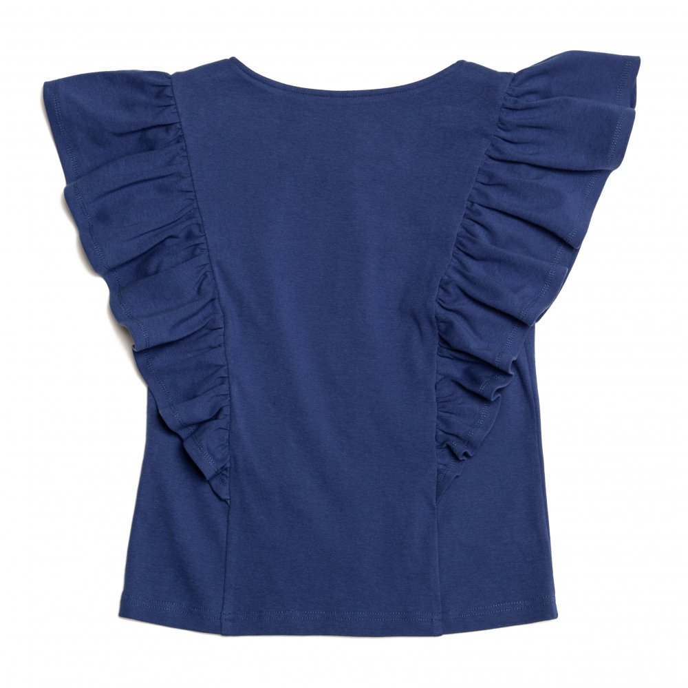 THE FLOWER BUTTON FRILL TOPS (BLUE)<img class='new_mark_img2' src='https://img.shop-pro.jp/img/new/icons21.gif' style='border:none;display:inline;margin:0px;padding:0px;width:auto;' />