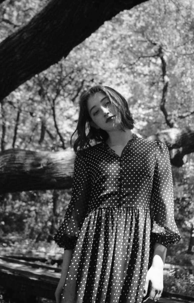 THE DOTTED PATTERN VOLUME SLEEVE DRESS<img class='new_mark_img2' src='https://img.shop-pro.jp/img/new/icons21.gif' style='border:none;display:inline;margin:0px;padding:0px;width:auto;' />