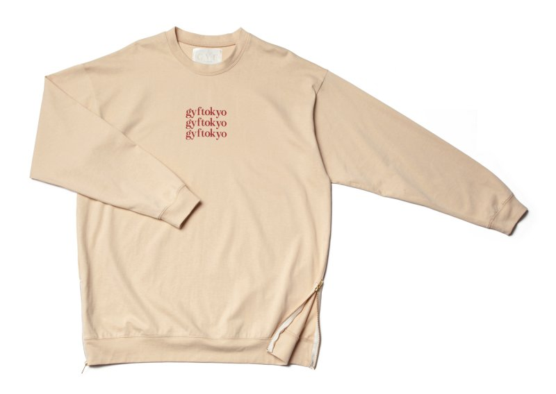 GYF TOKYO - THE OVER SIZED GYF LOGO LONG SLEEVE T-SHIRT (CREAM RED)<img class='new_mark_img2' src='https://img.shop-pro.jp/img/new/icons21.gif' style='border:none;display:inline;margin:0px;padding:0px;width:auto;' />