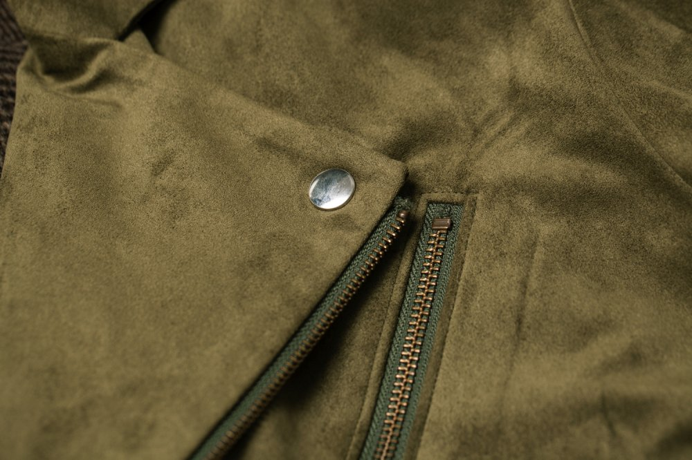 THE BIG FAKE SUEDE LEATHER JACKET (MOSS GREEN)<img class='new_mark_img2' src='https://img.shop-pro.jp/img/new/icons21.gif' style='border:none;display:inline;margin:0px;padding:0px;width:auto;' />