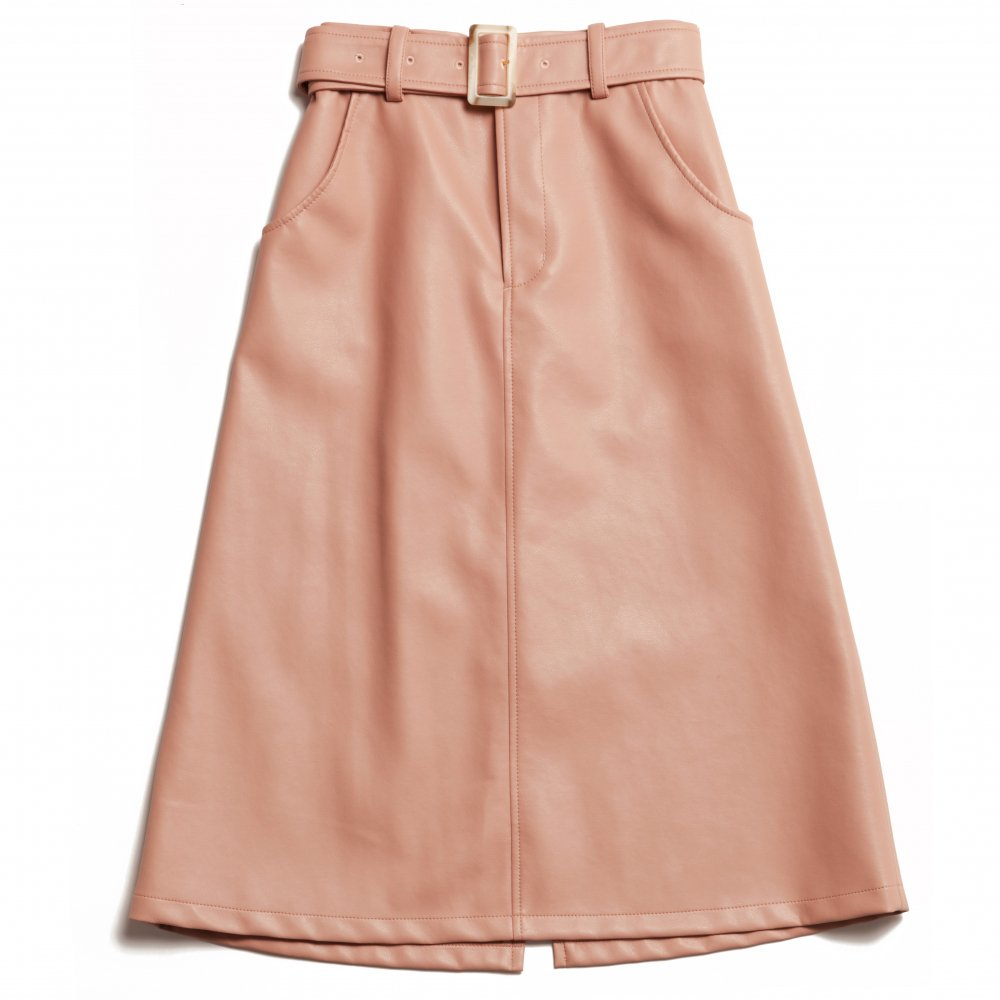THE ECO LEATHER A-LINE SKIRT WITH BELT (PINK)<img class='new_mark_img2' src='https://img.shop-pro.jp/img/new/icons21.gif' style='border:none;display:inline;margin:0px;padding:0px;width:auto;' />
