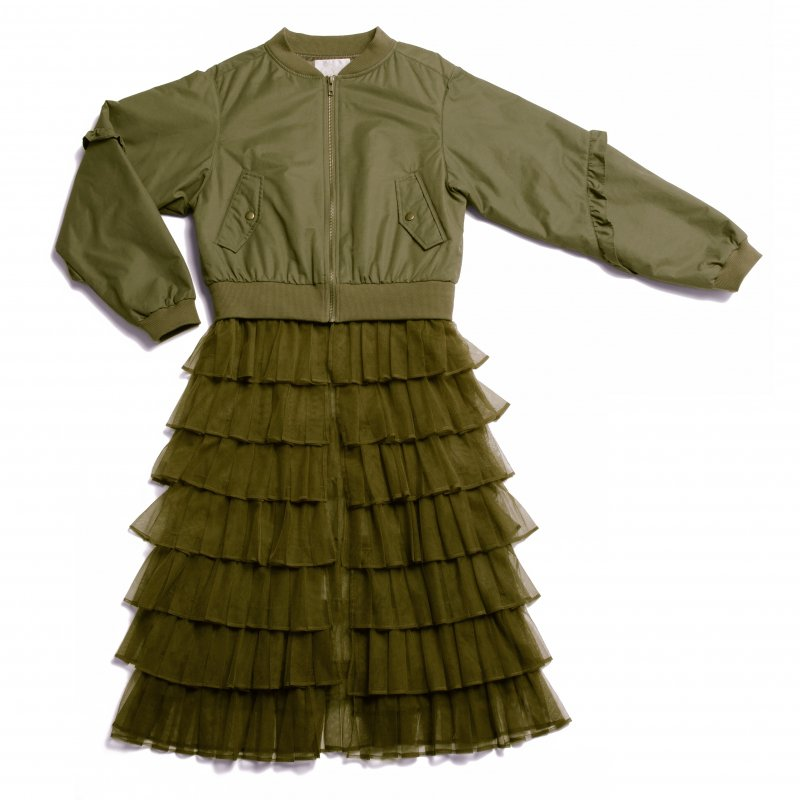 GYF TOKYO - THE 2WAY TULLE PLEATED BLOUSON (KHAKI)<img class='new_mark_img2' src='https://img.shop-pro.jp/img/new/icons21.gif' style='border:none;display:inline;margin:0px;padding:0px;width:auto;' />