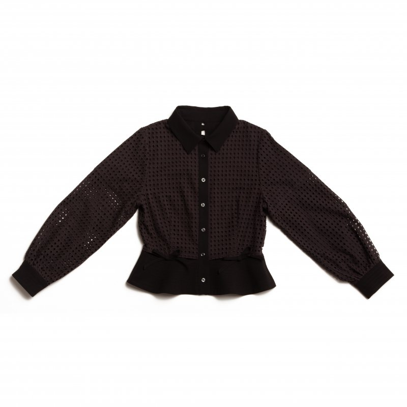 GYF TOKYO - THE SQUARE SEE-THROUGH BACK RIBBON BLOUSE TOPS (BLACK)<img class='new_mark_img2' src='https://img.shop-pro.jp/img/new/icons21.gif' style='border:none;display:inline;margin:0px;padding:0px;width:auto;' />