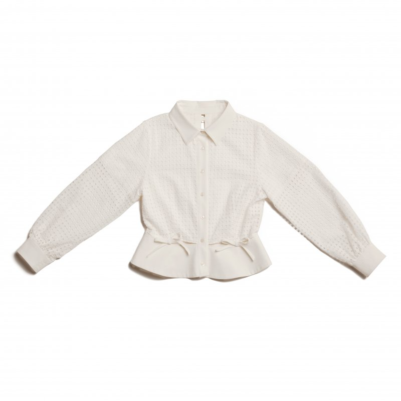 GYF TOKYO - THE SQUARE SEE-THROUGH BACK RIBBON BLOUSE TOPS (WHITE)<img class='new_mark_img2' src='https://img.shop-pro.jp/img/new/icons21.gif' style='border:none;display:inline;margin:0px;padding:0px;width:auto;' />