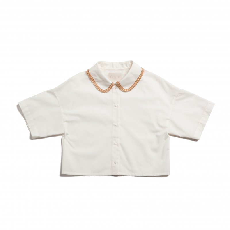 GYF TOKYO - THE BEADS COLLOR SHORT SHIRT TOPS<img class='new_mark_img2' src='https://img.shop-pro.jp/img/new/icons21.gif' style='border:none;display:inline;margin:0px;padding:0px;width:auto;' />