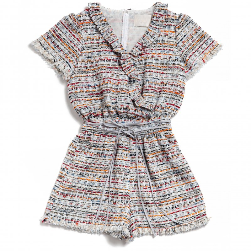 GYF TOKYO - THE DOUBLE RIBBON TWEED ROMPERS<img class='new_mark_img2' src='https://img.shop-pro.jp/img/new/icons21.gif' style='border:none;display:inline;margin:0px;padding:0px;width:auto;' />