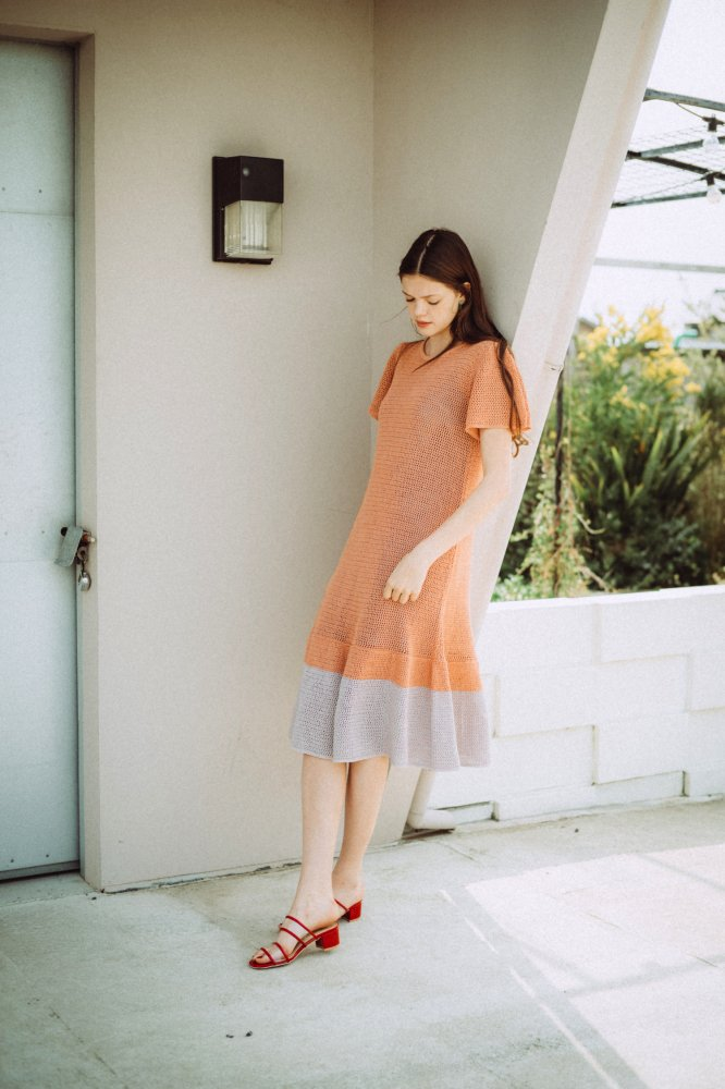 THE SUMMER KNIT RELAX BI-COLOR DRESS(YELLOW)<img class='new_mark_img2' src='https://img.shop-pro.jp/img/new/icons21.gif' style='border:none;display:inline;margin:0px;padding:0px;width:auto;' />
