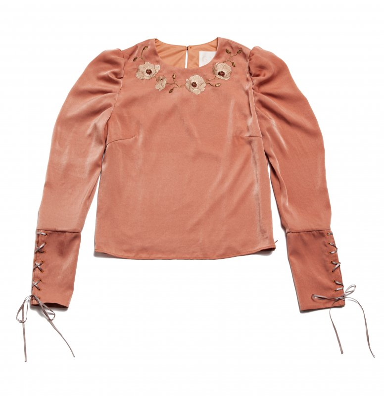 GYF TOKYO - THE FLOWER EMBROIDERY POWER SHOLDER TOPS (ORANGE)<img class='new_mark_img2' src='https://img.shop-pro.jp/img/new/icons21.gif' style='border:none;display:inline;margin:0px;padding:0px;width:auto;' />