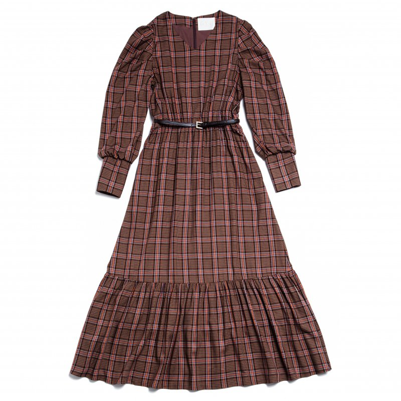 GYF TOKYO - THE BIG CHECK PATTERN DRESS WITH BELT (BROWN)<img class='new_mark_img2' src='https://img.shop-pro.jp/img/new/icons21.gif' style='border:none;display:inline;margin:0px;padding:0px;width:auto;' />