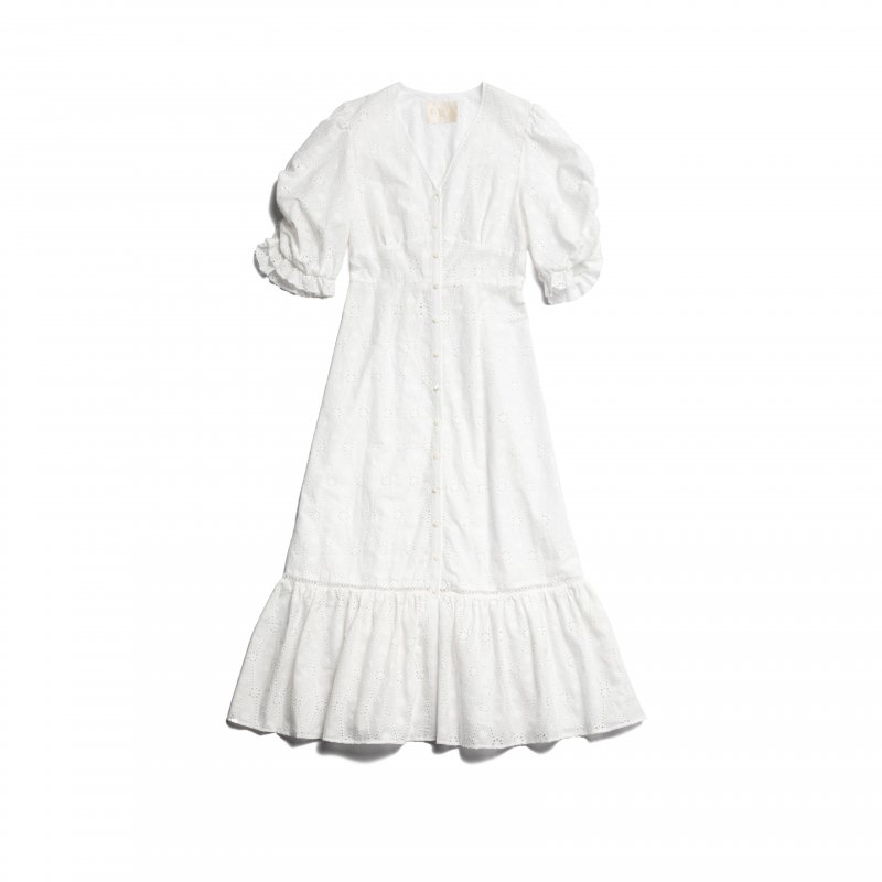 GYF TOKYO - THE COTTON LACE VOLUME SLEEVE DRESS(WHITE)<img class='new_mark_img2' src='https://img.shop-pro.jp/img/new/icons21.gif' style='border:none;display:inline;margin:0px;padding:0px;width:auto;' />
