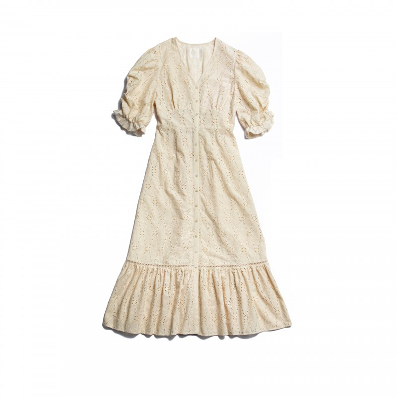 GYF TOKYO - THE COTTON LACE VOLUME SLEEVE DRESS(BEIGE)<img class='new_mark_img2' src='https://img.shop-pro.jp/img/new/icons21.gif' style='border:none;display:inline;margin:0px;padding:0px;width:auto;' />