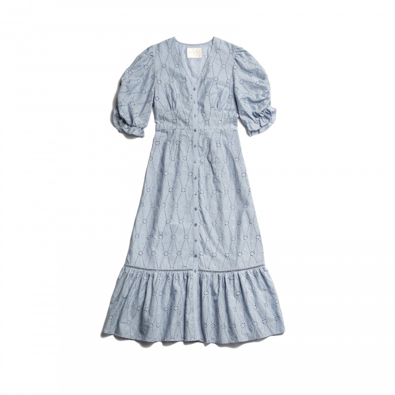 GYF TOKYO - THE COTTON LACE VOLUME SLEEVE DRESS(BLUE)