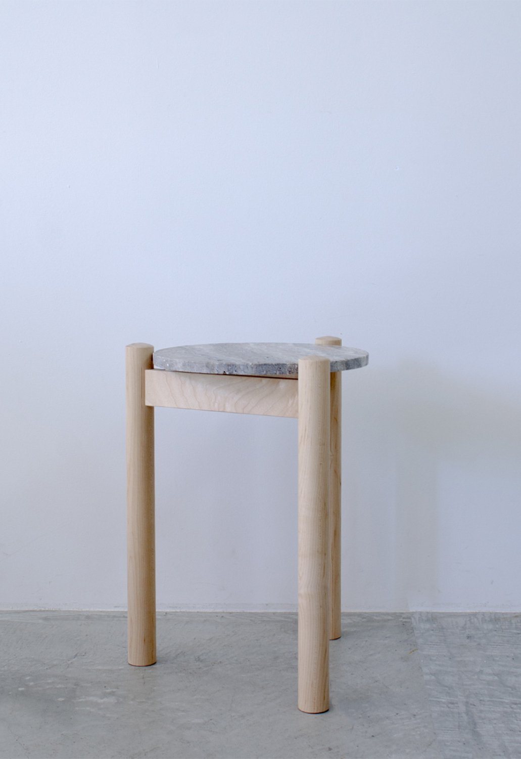 Travertine Side table -maple