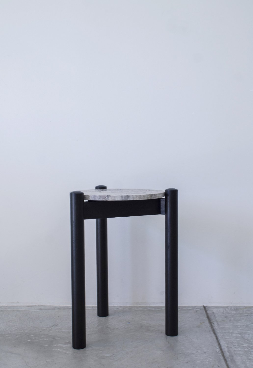 Travertine Side table -black