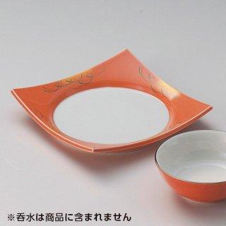 柿釉金吹武蔵野四方皿 和食器 天皿 業務用 約17cm 和食 和風 天ぷら うどん屋 蕎麦屋