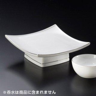 渕プラチナ白釉正角高台向付 和食器 天皿 業務用 約17cm 和食 和風 天ぷら うどん屋 蕎麦屋