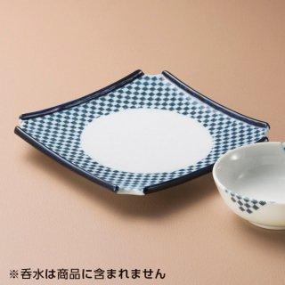 青格子すみ切高台皿 和食器 天皿 業務用 約18.5cm 和食 和風 天ぷら うどん屋 蕎麦屋