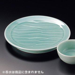 深海青地波彫6.3天皿 和食器 天皿 業務用 約19cm 和食 和風 天ぷら うどん屋 蕎麦屋