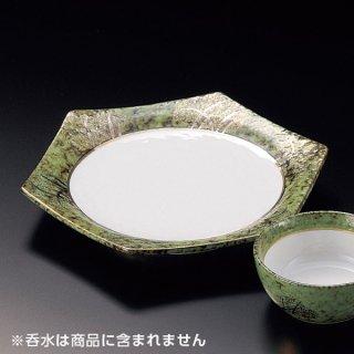 金彩武蔵野グリーンたたき六角6.5皿 和食器 天皿 業務用 約20cm 和食 和風 天ぷら うどん屋 蕎麦屋
