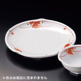 赤紅小花天皿 和食器 天皿 業務用 約21cm 和食 和風 天ぷら うどん屋 蕎麦屋