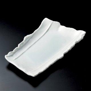 青白磁ちぎり変形尺1寸皿 和食器 変型大皿 業務用 約33.5cm 和食 和風 宴会 揚げ物 串物 大皿 和皿 寿司屋