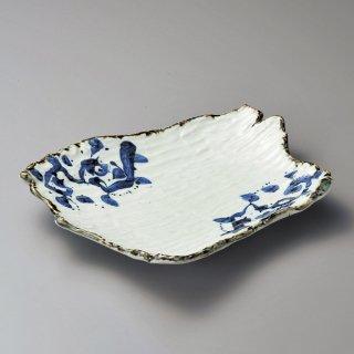 唐草変形長大皿 和食器 変型大皿 業務用 約33cm 和食 和風 宴会 揚げ物 串物 大皿 和皿 寿司屋 刺身盛り合わせ