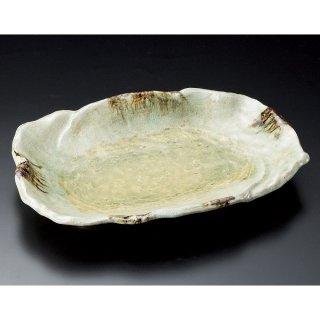 砂ビードロ12号変形皿 萬古焼 和食器 変型大皿 業務用 約37cm 和食 和風 宴会 揚げ物 串物 大皿 和皿 刺身盛り合わせ