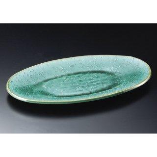 緑釉16.5楕円皿 信楽焼 和食器 変型大皿 業務用 約47.5cm 和食 和風 宴会 揚げ物 串物 大皿 和皿 寿司屋