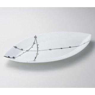 錦白プラチナ玉すだれリーフ50cm皿 有田焼 和食器 変型大皿 業務用 約50cm 和食 和風 宴会 揚げ物 串物
