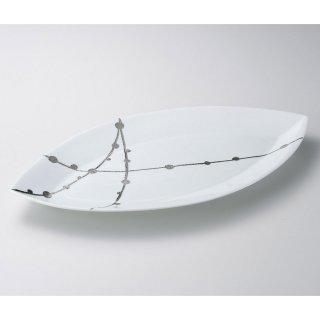 錦白プラチナ玉すだれリーフ40cm皿 有田焼 和食器 変型大皿 業務用 約41cm 和食 和風 宴会 揚げ物 串物