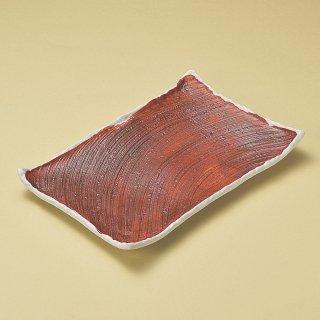 朱巻粉引き角皿 大 和食器 長角大皿 業務用 約37cm 和食 和風 ほっけ 宴会 盛り付け皿 寿司盛り合わせ 刺身盛り合わせ