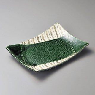 織部十草角大皿 和食器 長角大皿 業務用 約32.5cm 和食 和風 ほっけ 宴会 盛り付け皿 寿司盛り合わせ 刺身盛り合わせ