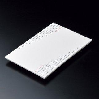 染付二色ライン長角足付皿 和食器 長角大皿 業務用 約32cm 和食 和風 ほっけ 宴会 盛り付け皿 寿司盛り合わせ