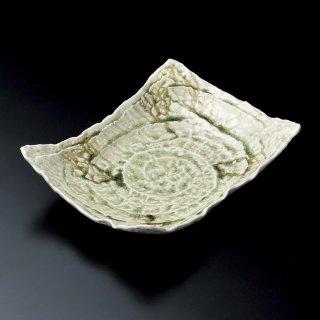ビードロガタ彫長角四方上り盛皿 和食器 長角大皿 業務用 約30.8cm 和食 和風 ほっけ 宴会 盛り付け皿 寿司盛り合わせ