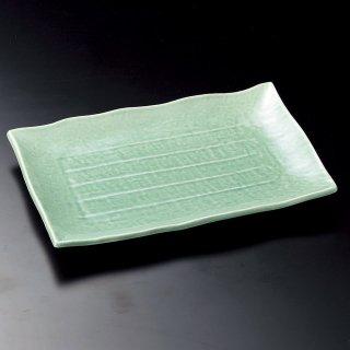 トルコ10号長角皿 萬古焼 和食器 長角大皿 業務用 約30.3cm 和食 和風 ほっけ 宴会 盛り付け皿 寿司盛り合わせ