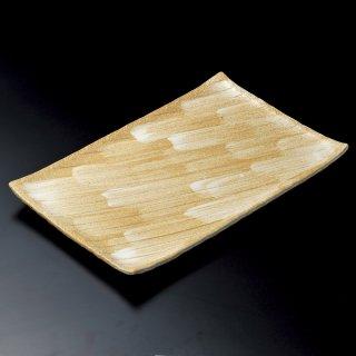 志野釉 手造り 13号長角皿 萬古焼 和食器 長角大皿 業務用 約42cm 和食 和風 ほっけ 宴会 盛り付け皿 寿司盛り合わせ