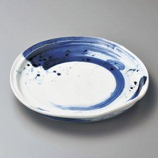 呉須刷毛目変形尺皿 和食器 丸大皿 業務用 約31cm 和食 和風 ふぐ刺し 宴会 盛り付け皿 揚げ物盛り合わせ てっさ