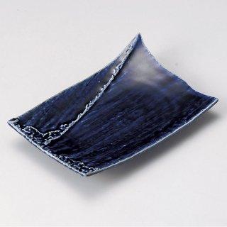 藍紺しぶき焼物皿 和食器 焼物皿 業務用 約22.2cm 和食 和風 焼魚 串物 揚げ物 創作料理 焼肉店 おにぎり 焼き鳥 天ぷら