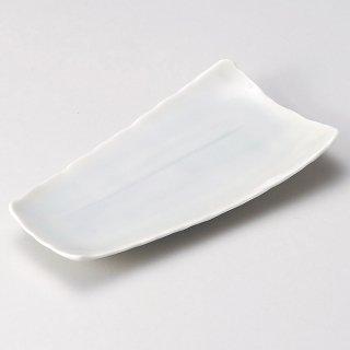 青白磁線紋長角皿 和食器 焼物皿 業務用 約21.5cm 和食 和風 焼魚 串物 揚げ物 創作料理 焼肉店 おにぎり 焼き鳥 天ぷら