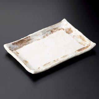 志野タタキ7.0長角皿 和食器 焼物皿 業務用 約20cm 和食 和風 焼魚 串物 揚げ物 創作料理 焼肉店 おにぎり 焼き鳥 天ぷら