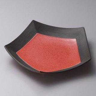 渕黒レッド五変形皿 和食器 変形皿 業務用 約23cm 和食 和風 前菜 焼き物 揚げ物 刺身 お造り