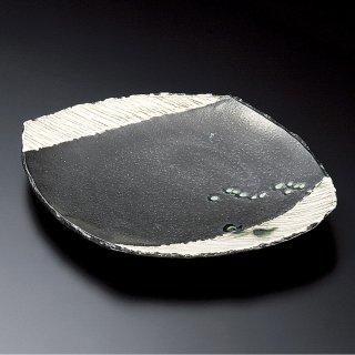 黒織部取皿 和食器 変形皿 業務用 約18cm 和食 和風 前菜 焼き物 揚げ物 刺身 お造り