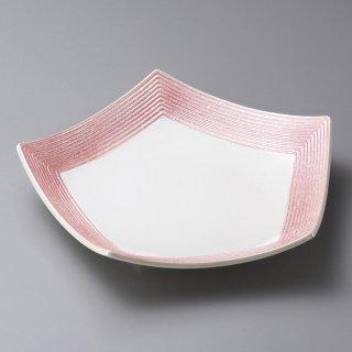 ピンク吹ラスター五角皿 大 和食器 変形皿 業務用 約23.5cm 和食 和風 前菜 焼き物 揚げ物 刺身 お造り