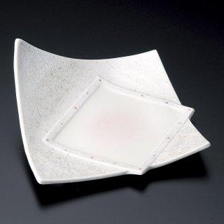 ラスターピンク一方上り皿 和食器 変形皿 業務用 約20.7cm 和食 和風 前菜 焼き物 揚げ物 刺身 お造り