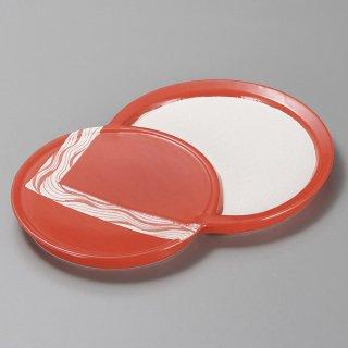 朱釉双子皿 和食器 変形皿 業務用 約26cm 和食 和風 前菜 焼き物 揚げ物 刺身 お造り