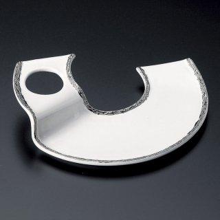 プラチナ白丸抜きU型三品盛 和食器 変形皿 業務用 約22cm 和食 和風 前菜 焼き物 揚げ物 刺身 お造り