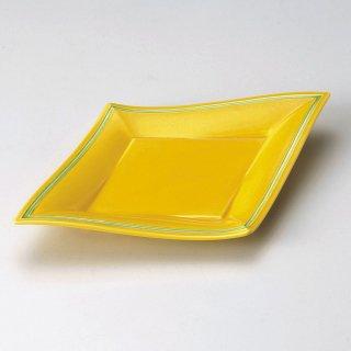 黄釉グリーン菱型10.0皿 和食器 変形皿 業務用 約30cm 和食 和風 前菜 焼き物 揚げ物 刺身 お造り