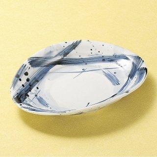 呉須格子たわみ9寸皿 和食器 変形皿 業務用 約26.8cm 和食 和風 前菜 焼き物 揚げ物 刺身 お造り